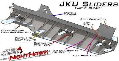 Artec Industries - Nighthawk JK Sliders (JKU - 4 Door) - Image 3