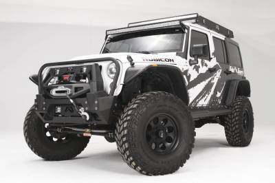 Bumper & Body - Fab Fours - Fab Fours - Fab Fours Full Metal Jacket Winch Bumper Modifier (Black)