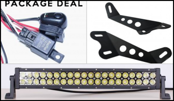 "Vision - More Light - Lifetime LED - JK 20"" HOOD MOUNT PACKAGE DUAL ROW"