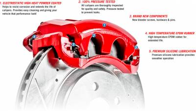 Power Stop - REAR JK Power Stop Performance Calipers - Powder Coated Red