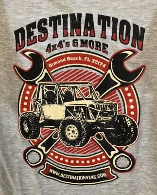 Destination 4x4s and More - T-Shirt Grey w/Wrenches
