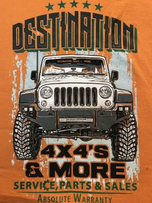 Gifts - Apparel - Destination 4x4s and More - T-Shirt Orange w/Green