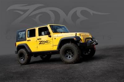 "ZONE OFFROAD PRODUCTS - Zone 07-17 Jeep Wrangler JK 4"" Suspension System W/ Fox Adventure Series Shocks & Stabilizer - Image 3"