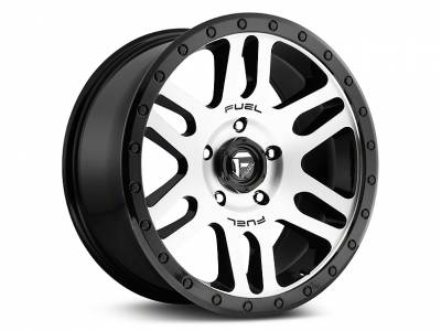Wheels - Fuel Offroad - Fuel Recoil D585 Brushed Face | Gloss Black Windows | Gloss Black Ring