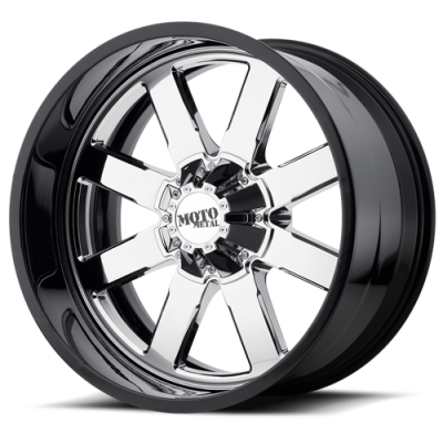 Wheels - Moto Metal - MOTO-METAL - Moto Metal MO200 CHROME CENTER W/ GLOSS BLACK MILLED LIP
