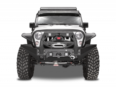 Bumper & Body - Fab Fours - Fab Fours - Full Metal Jacket Winch Bumper Modifier (Black)